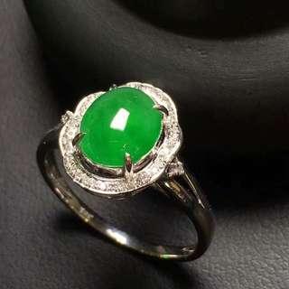 天然翡翠A貨18K金伴鑽鑲嵌戒指