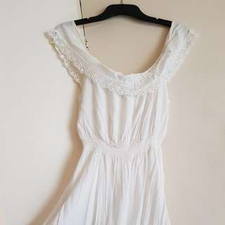 White Off The Shoulder Dress Lace Trimmings s8