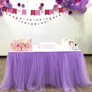 Purple Party Decoration. Purple tutu tablecloth.