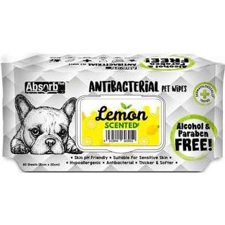 Absorb Plus Antibacterial Lemon Scented Pet Wipes x 2 packets