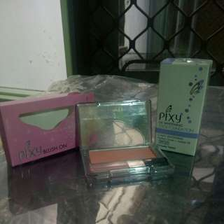 PIXY Blush On (01 Innocent Pink) & Stick Foundation (Natural Beige)