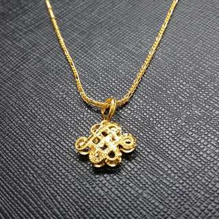 916 gold lover's knot pendant