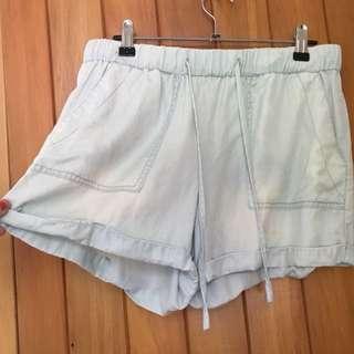 Glassons light blue chambray fabric shorts