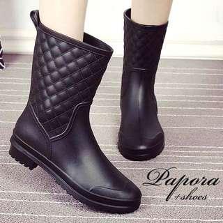 雨鞋雨靴.簡約菱格造型防水半筒雨靴雨鞋