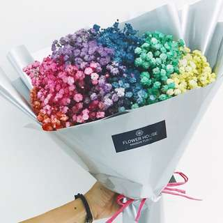 Rainbow baby's breath bouquet small