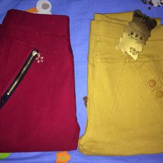 Red and Mustard colored pants
