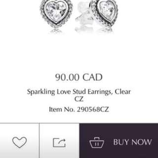 Pandora sparkling love stud earrings