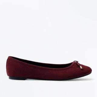 New Look Deep Dark Red Maroon Suedette Ballet Pumps Flatshoes