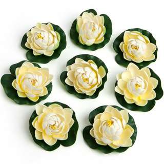 8x Floating White Foam Flowers Lily Pads
