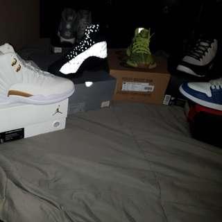 Rare Jordans Retro 12 size 9, Retro 13 size 9.5, Retro 9 size 9.5 Nike Air Jordan Royal Blue size 9.5, Yeezy size 10