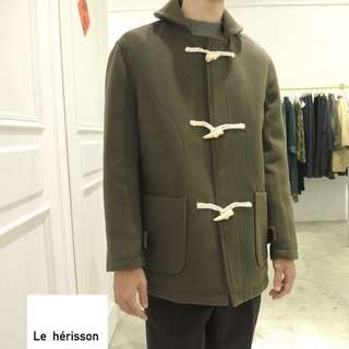 🚚 墨綠牛角扣大衣