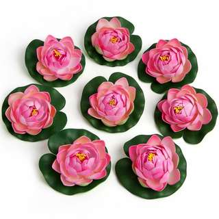 8x Floating Pink Foam Flowers Lily Pads