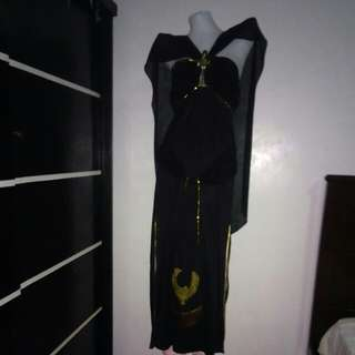 black long gown costume with slits on side