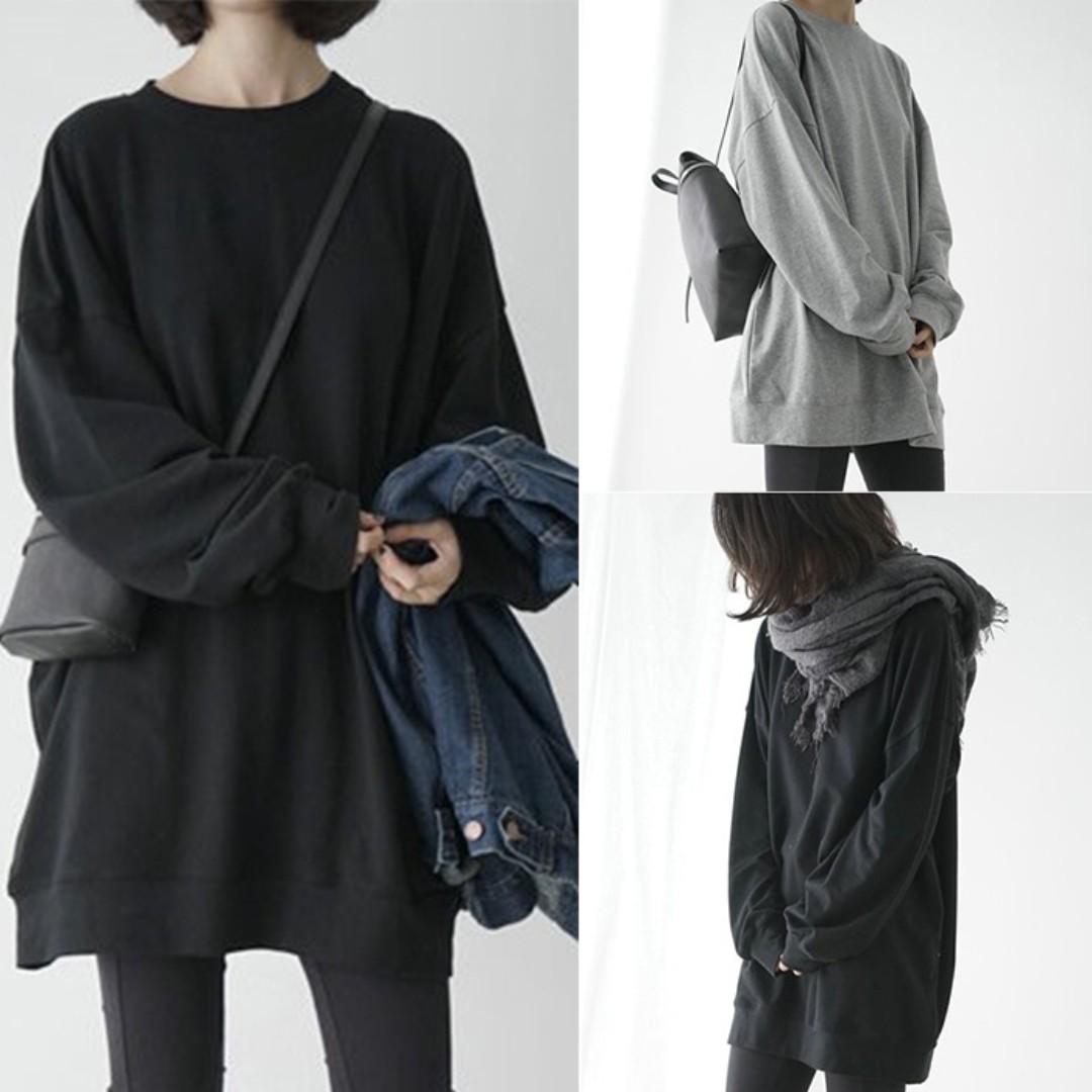 1225韓版元宿風寬鬆純色薄款套頭長袖T恤