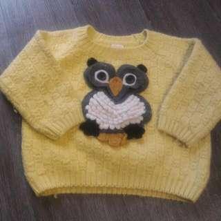貓頭鷹圖樣毛衣(二手)