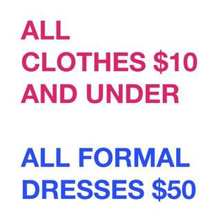 Clothes and formal dresses