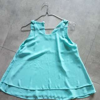 Sleeveless chiffon blue top
