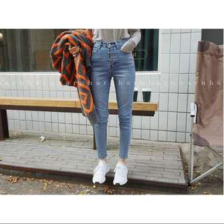 Haruharu 購入 排扣高腰牛仔褲 M