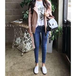 Haruharu購入 超顯瘦高腰九分牛仔褲 深藍27