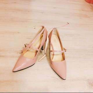 Zalora 裸粉色繫帶瑪莉珍 尖頭 高跟鞋 伴娘 婚鞋