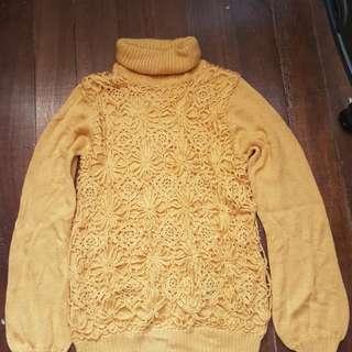 Crocheted turtle neck winter top