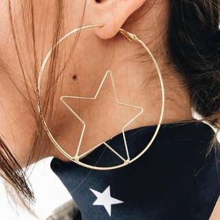 Star Hoop Earrings - Gold / Silver