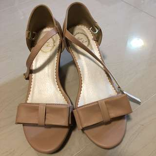 (清櫃) 日本購入 蝴蝶結 坡跟 露趾鞋 38碼 M碼