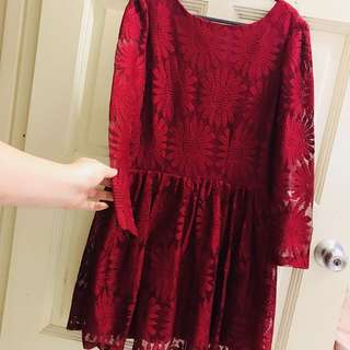 Daisy maroon dinner dress