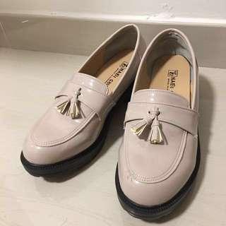 (韓國製) 軟底 學生鞋 厚底鞋 裸色 牛津鞋 流蘇