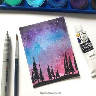 A7 Galaxy Watercolour Painting