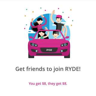 FREE $8 RIDE CREDIT ON RYDE!