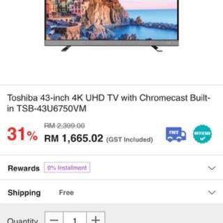 "Toshiba Tv 43"" UHD 4K"
