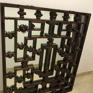 Teak Mirror Wall Display