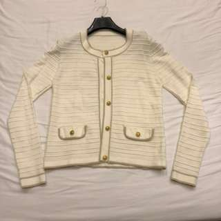 Off white Cardigan with Gold trimmings