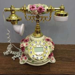 玫瑰雕花復古電話有來電顯示
