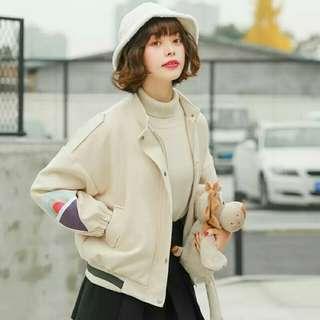 日單袖口繡圖案麂皮外套