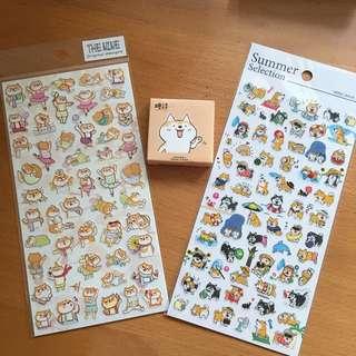 Stickers bundle set - Shiba Inu dog stickers