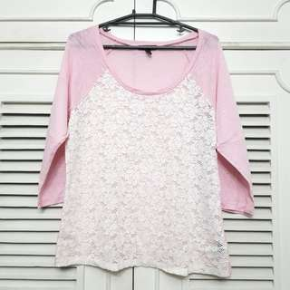 Plus size Lace Pink and White Tshirt Top