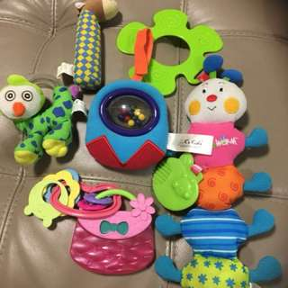 Baby Set (5 items) - 2 K's Kids Stroller/ Crib Toy & 3 small squeaky/ rattles