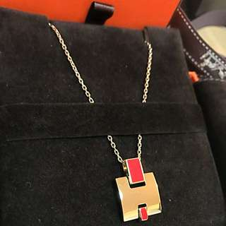 Hermes Eileen necklace red/gold