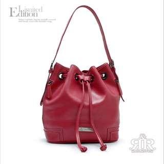 ✨【2R】牛皮水桶包(甜莓紅)✨