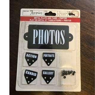 "7 Gypsies metal plate and tabs - ""Photos"""