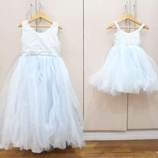 Matching big sister and little sister customized party dresses
