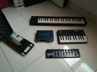 Midi controllers, condenser microphone and soundcard