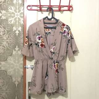 Nude pink floral jumpsuit