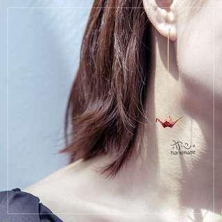 Red Crane Dangling Earrings