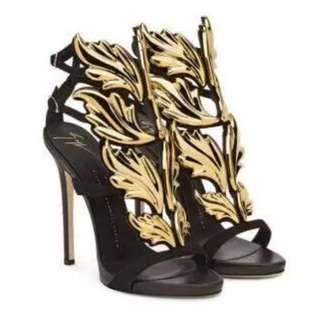 Fire Leaves Buckled Stiletto Heels