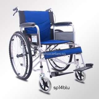 Sturdy Heavy Duty Self Propelled Wheelchair (14kg) Blue Only