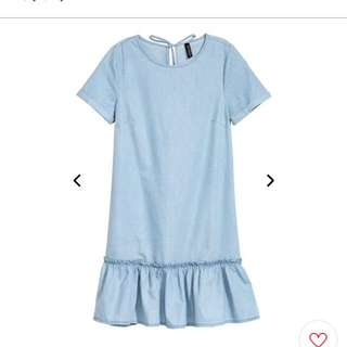 H&M flounced denim dress
