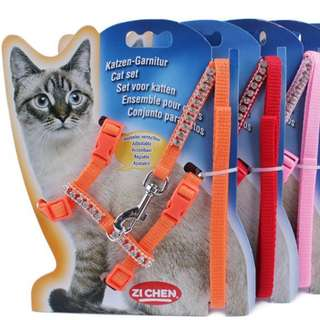 Cat Leash and Harness with Rhinestones!